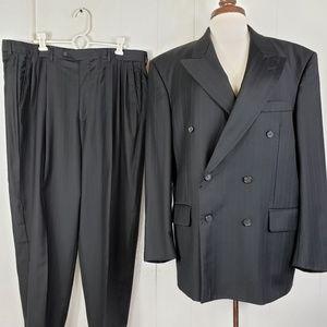 Roberto Villini Suit Mens Black Grey Striped Wool